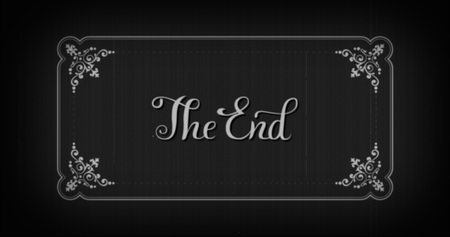finally: The end typography old movie animation title screen.