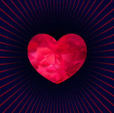 Faceted red three-dimensional heart on a dark background with rays, vector  for your design Illustration