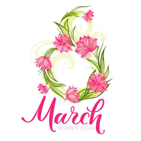 Tulips March greeting card Illustration