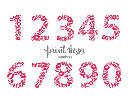 lustful: Set of numbers, made from printed kisses