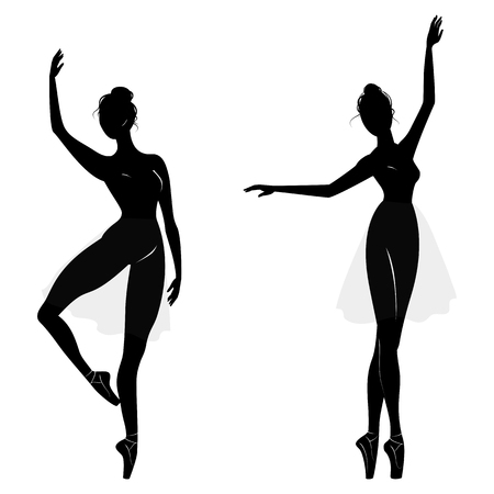 Dance girl silhouette isolated on white background.