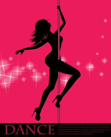 Pole dancer girl on pink background Ilustração