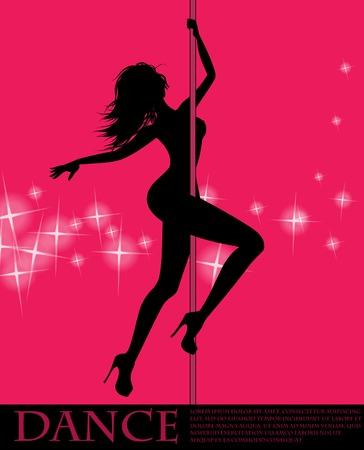 Pole dancer girl on pink background Illustration
