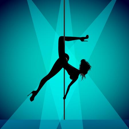 Pole dancer girl in blue background Illustration