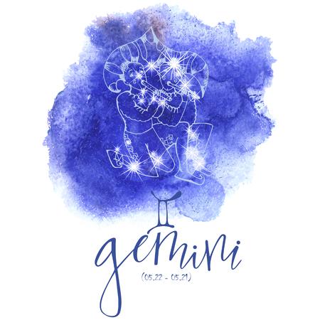Astrología Gemini Ilustración de vector