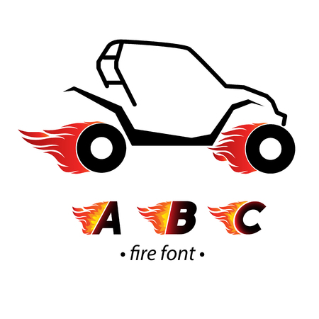 Fire and high speed  letters Illustration