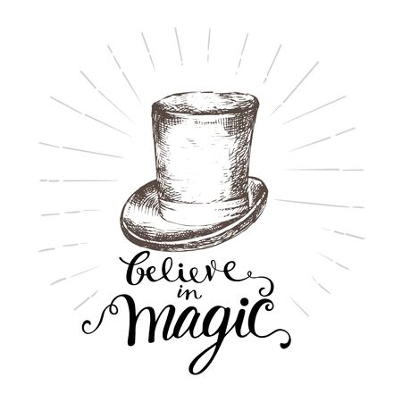 Illusionist hat and hand-drawn lettering Illustration