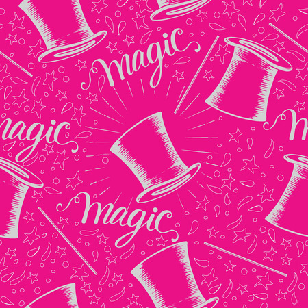 seamless background with illusionist hat and hand-drawn lettering