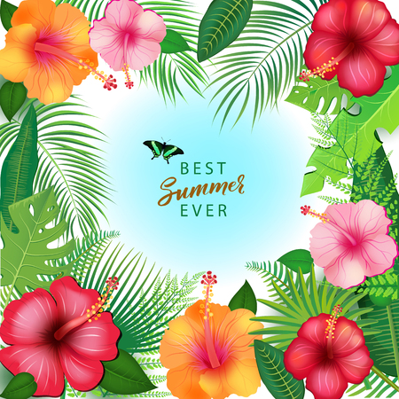 Abstract Background with Tropical Leaves Ilustração