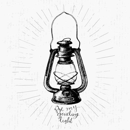 Lampe vectorielle dessinée à la main vintage Vecteurs
