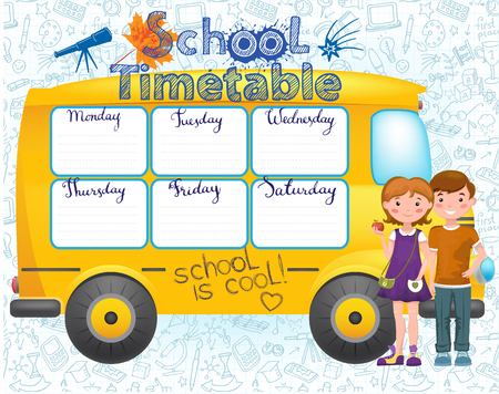School bus image with timetable Illustration