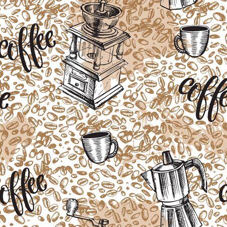 Seamless coffee background Ilustração
