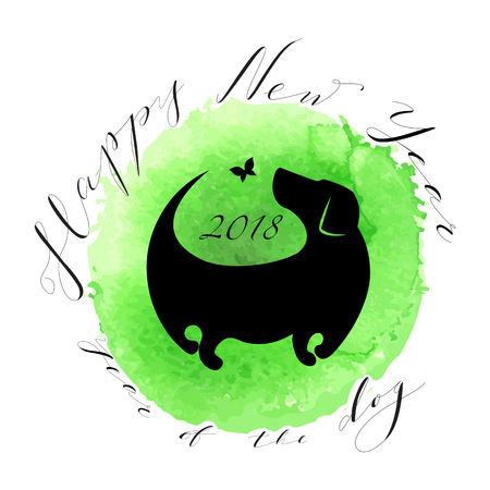 Happy New year card with Dog silhouette