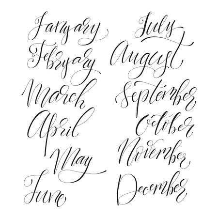 Lettering set of months