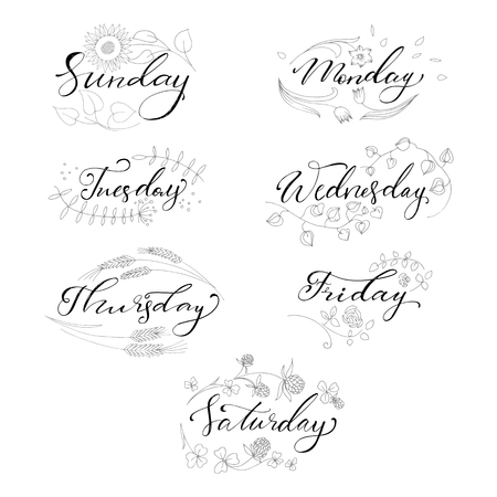 Set of hand drawn days of the week