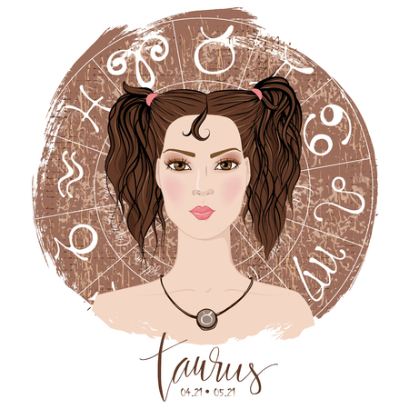 Zodiac signs Taurus  in image of beauty girl.