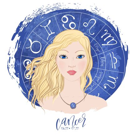 Zodiac signs Cancer in image of beauty girl. Vector illustration for column Horoscope includes modern hand drawn lettering and dates Ilustração