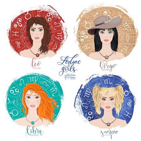 Set of four zodiacs-Leo, Virgo, Scorpio and libra Imagens