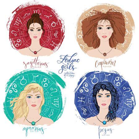 Set of four zodiacs- Sagittarius, Capricorn, Aquarius and Pisces