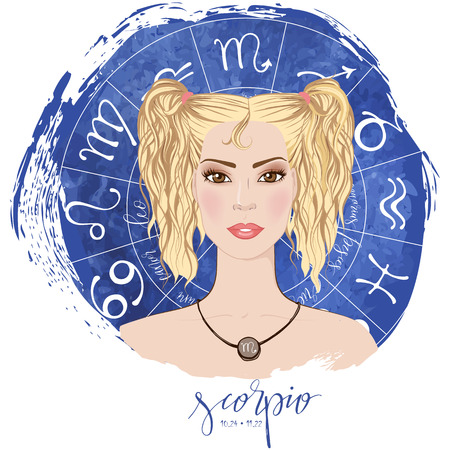 Zodiac signs Scorpio in image of beauty girl