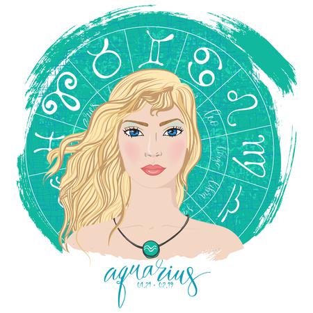 Zodiac signs Aquarius in image of beauty girl. Ilustração