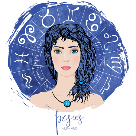 Zodiac signs Pisces in image of beauty girl.