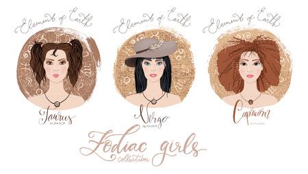 Trigon of fire, zodiac signs Taurus, Virgo and Capricorn in image of beauty girls. Ilustração