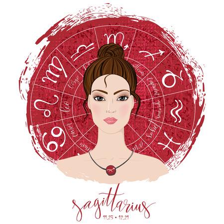 Zodiac signs Sagittarius in image of beauty girl Ilustração