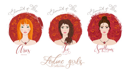 Trigon of fire, zodiac signs Aries, Leo and Sagittarius in image of beauty girls.