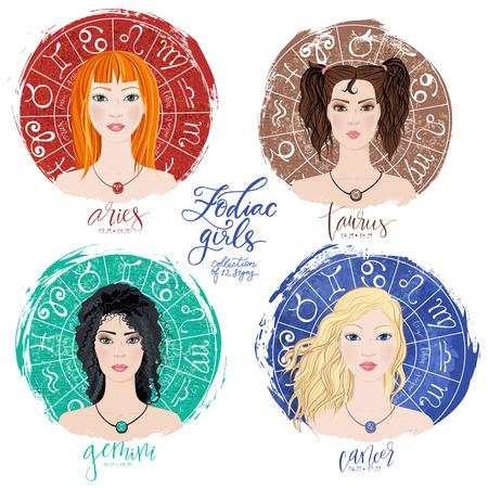 Set of four zodiacs- Aries, Taurus, Gemini and Cancer.