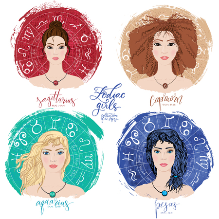 Set of four zodiacs- Sagittarius, Capricorn, Aquarius and Pisces.