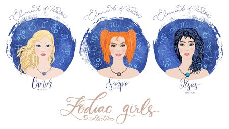 Trigon of water, zodiac signs Cancer, Scorpio and Pisces in image of beauty girls.