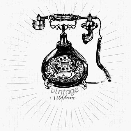 Vintage telephone drawing Ilustração