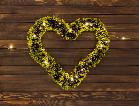 Shiny garland decoration in shape of heart Banco de Imagens
