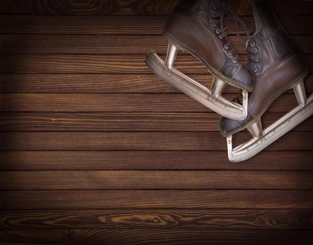 Vintage brown men`s skates Imagens