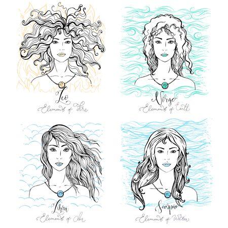 Four Zodiac signs beauty girls