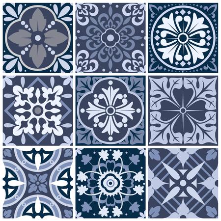 Vector set of nine seamless abstract patterns. Ilustração