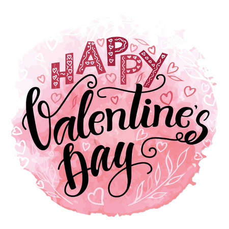 Happy valentine's day Hand drawn calligraphy and brush pen lettering with red watercolor background. design for holiday greeting card and invitation of the wedding, Valentine's day and Happy love day.