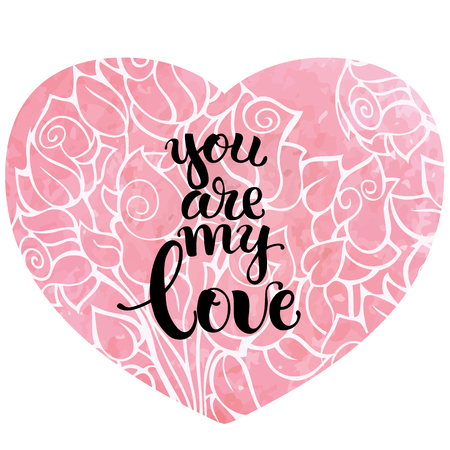 Happy valentines day Hand drawn calligraphy and brush pen lettering with pink heart watercolor background. design for holiday greeting card and invitation of the wedding, Valentines day and Happy love day.