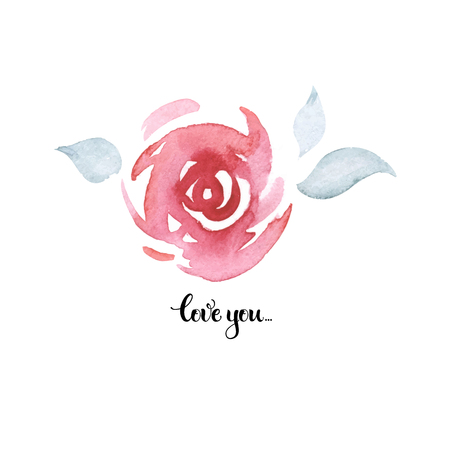Love You Hand drawn calligraphy with watercolor rose. Card for holidays and invitation of the wedding, Valentines day and Happy love day. Ilustração