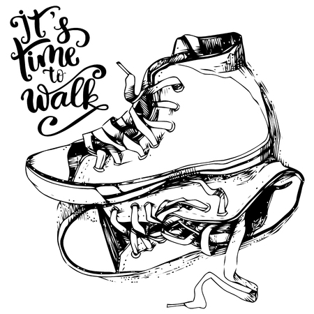 Vintage sneakers  and inspirational lettering