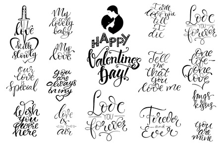 Set of black and white hand written lettering  love to valentines  theme. Design for  poster, greeting card, photo album, banner, calligraphy vector illustration collection Ilustração