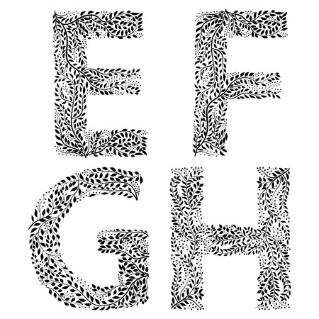Set of letters E, F, G and H
