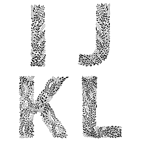 Set of letters I, J, K and L with leaves design