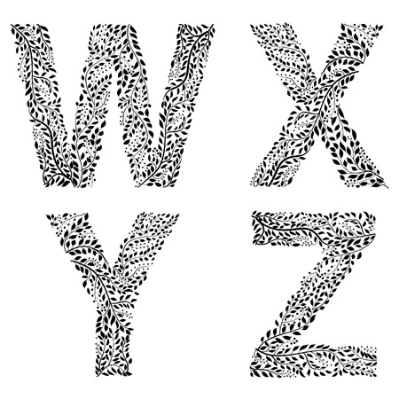 Set of letters W, X, Y and Z Vector illustration.