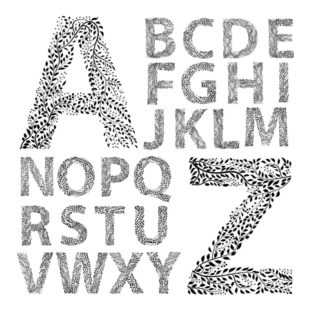 Alphabet made with leaves.
