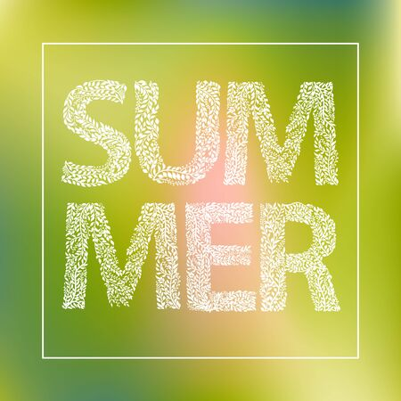 Summer-White Letters made with leaves on yellow Background