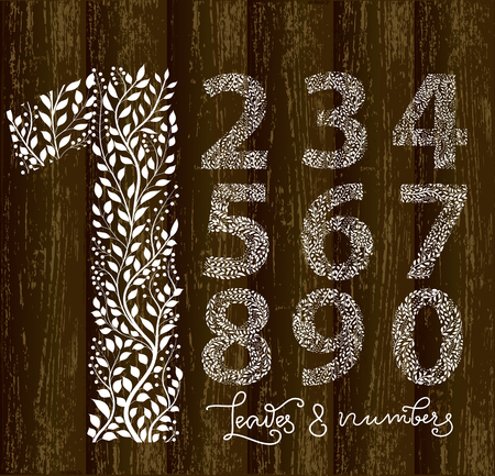 Set of numbers on wooden background