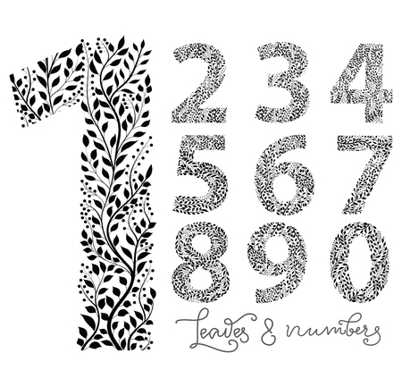 Set of numbers from one to ten, made with hand drawn leaves
