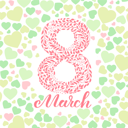 8 March greeting card isolated on colorful background. Ilustração